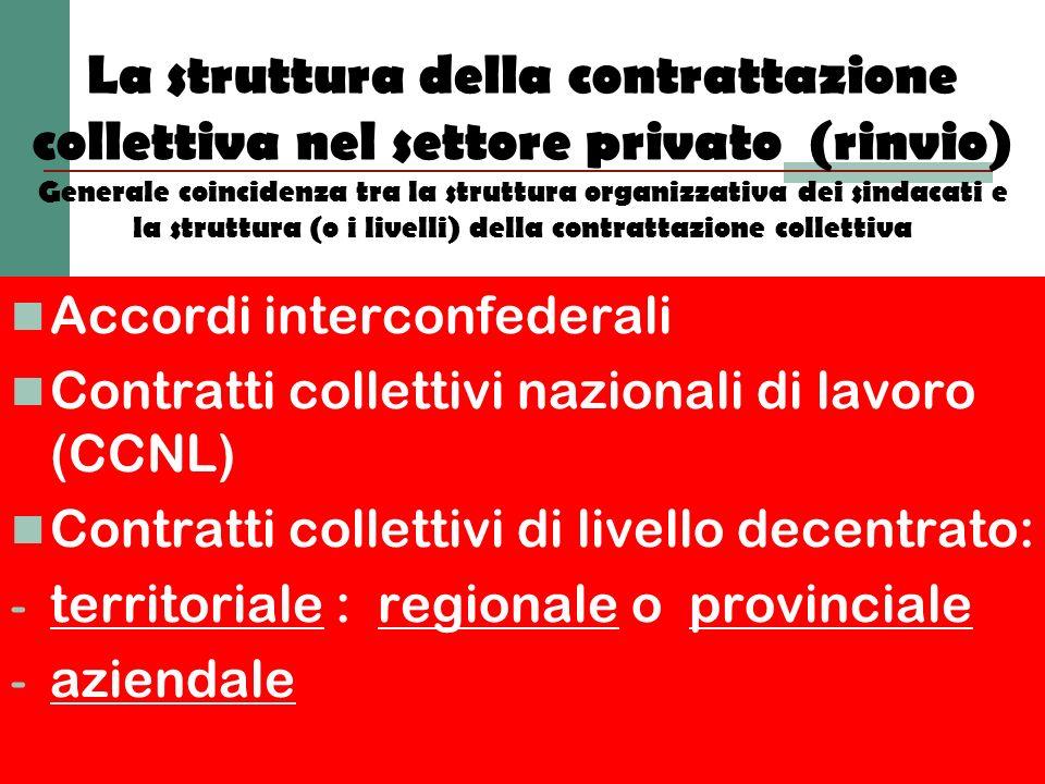 La struttura della contrattazione collettiva nel settore privato (rinvio) Generale coincidenza tra la struttura organizzativa dei sindacati e la struttura (o i livelli) della contrattazione collettiva
