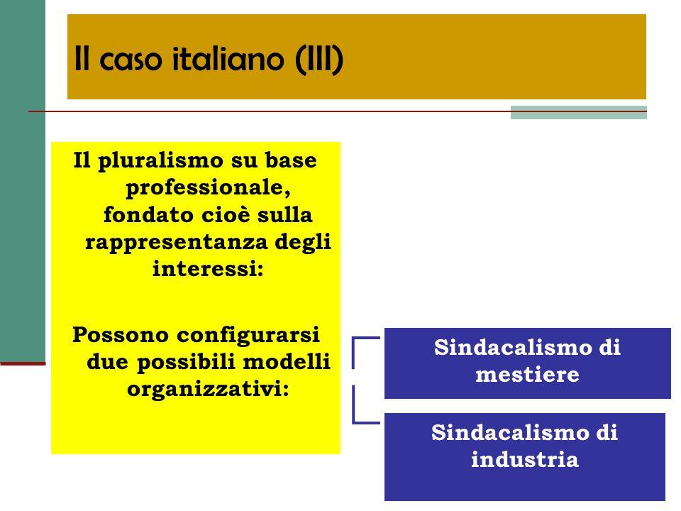 Il caso italiano (III) Il pluralismo su base professionale, fondato cioè sulla rappresentanza degli interessi: