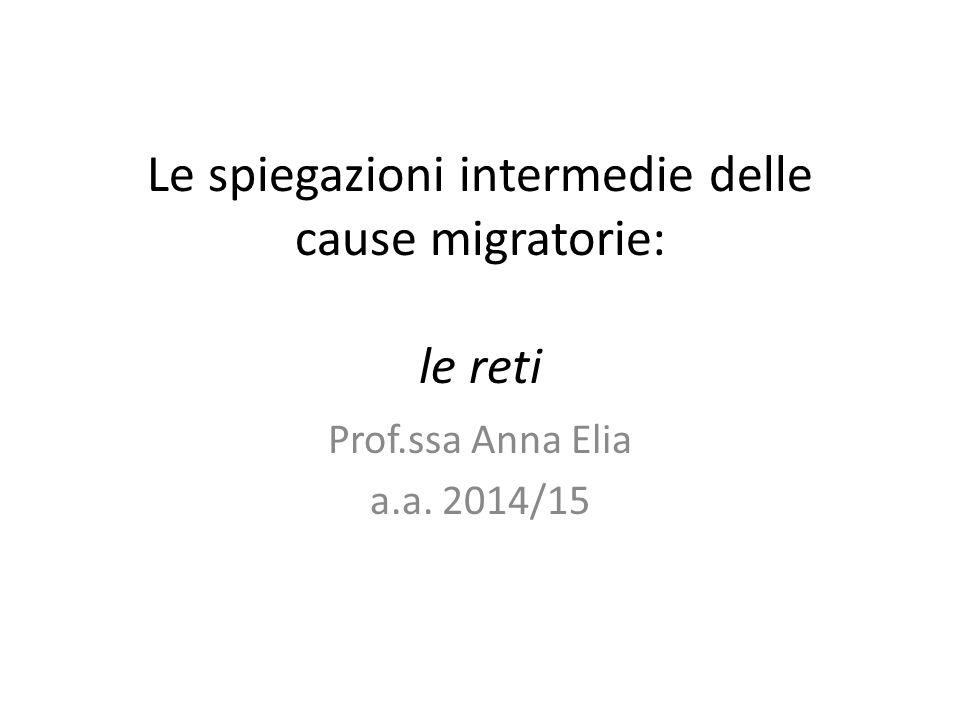 Le spiegazioni intermedie delle cause migratorie: le reti