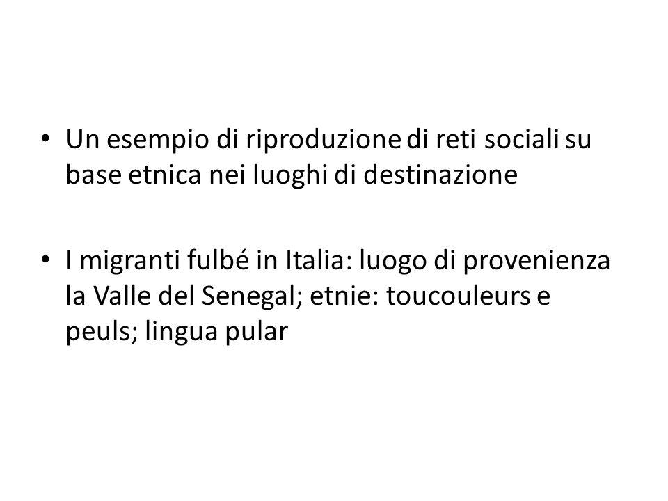 Un esempio di riproduzione di reti sociali su base etnica nei luoghi di destinazione