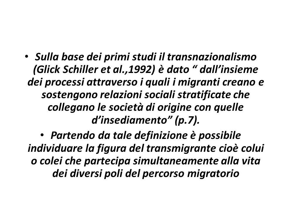 Sulla base dei primi studi il transnazionalismo (Glick Schiller et al