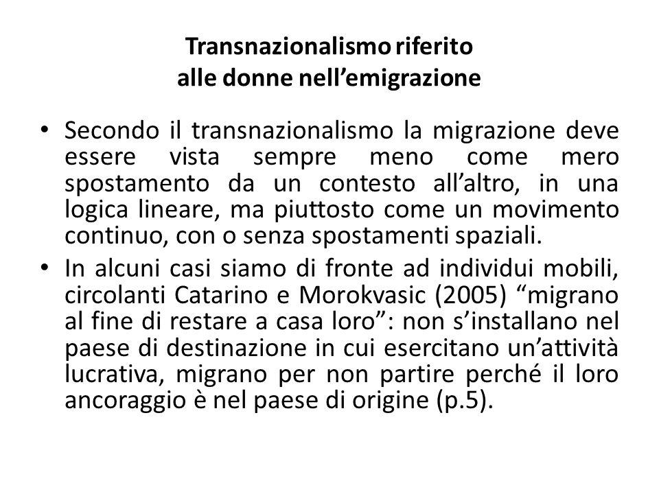 Transnazionalismo riferito alle donne nell'emigrazione