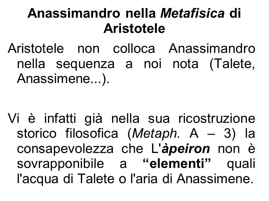 Anassimandro nella Metafisica di Aristotele