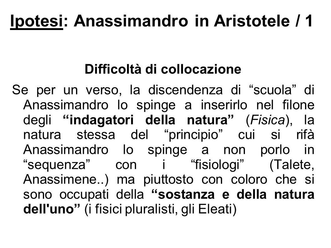 Ipotesi: Anassimandro in Aristotele / 1