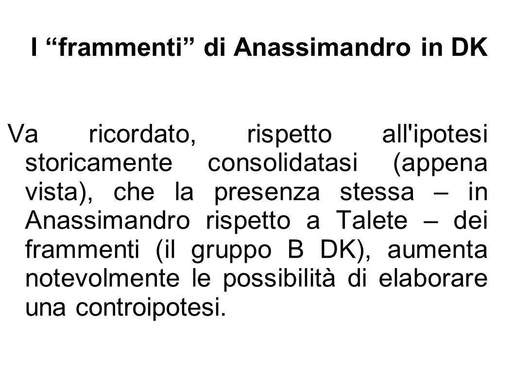 I frammenti di Anassimandro in DK