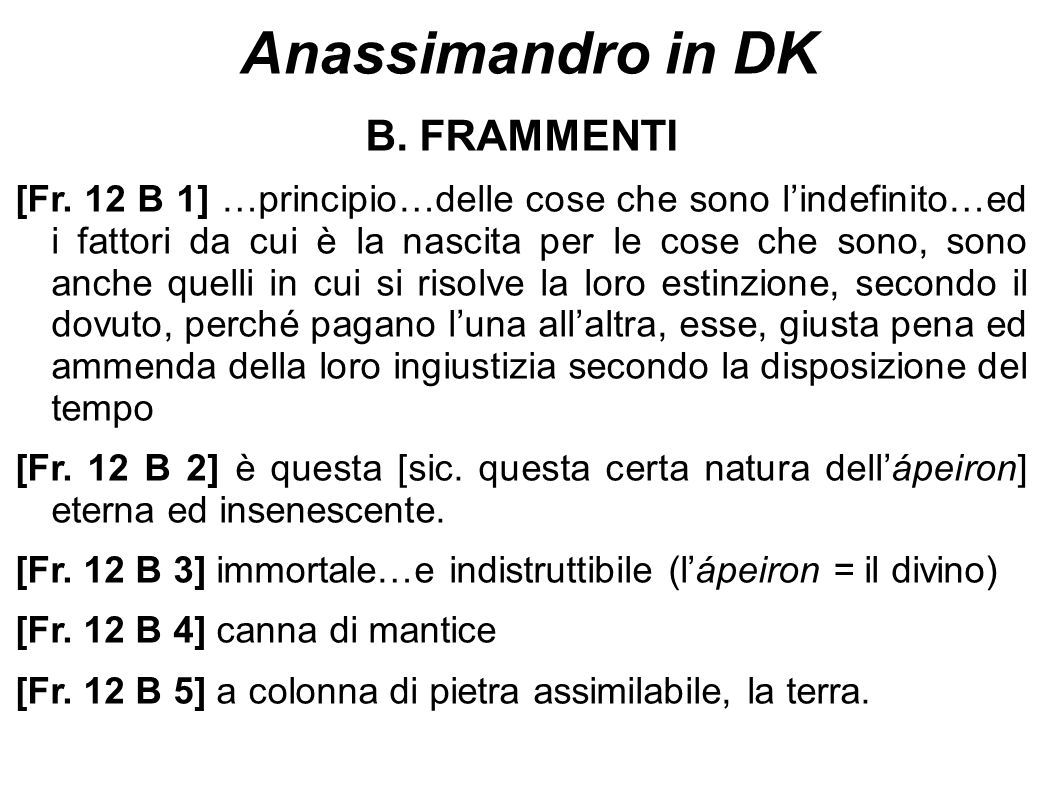 Anassimandro in DK B. FRAMMENTI