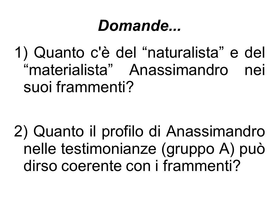 Domande... 1) Quanto c è del naturalista e del materialista Anassimandro nei suoi frammenti