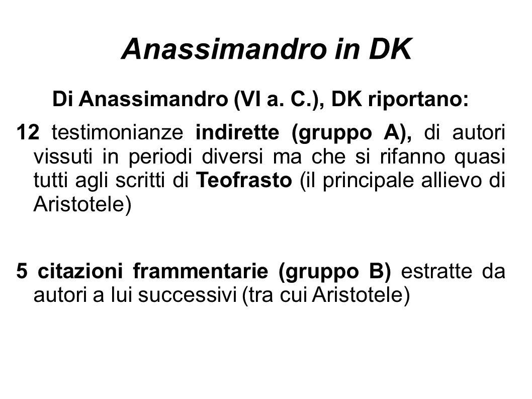 Di Anassimandro (VI a. C.), DK riportano: