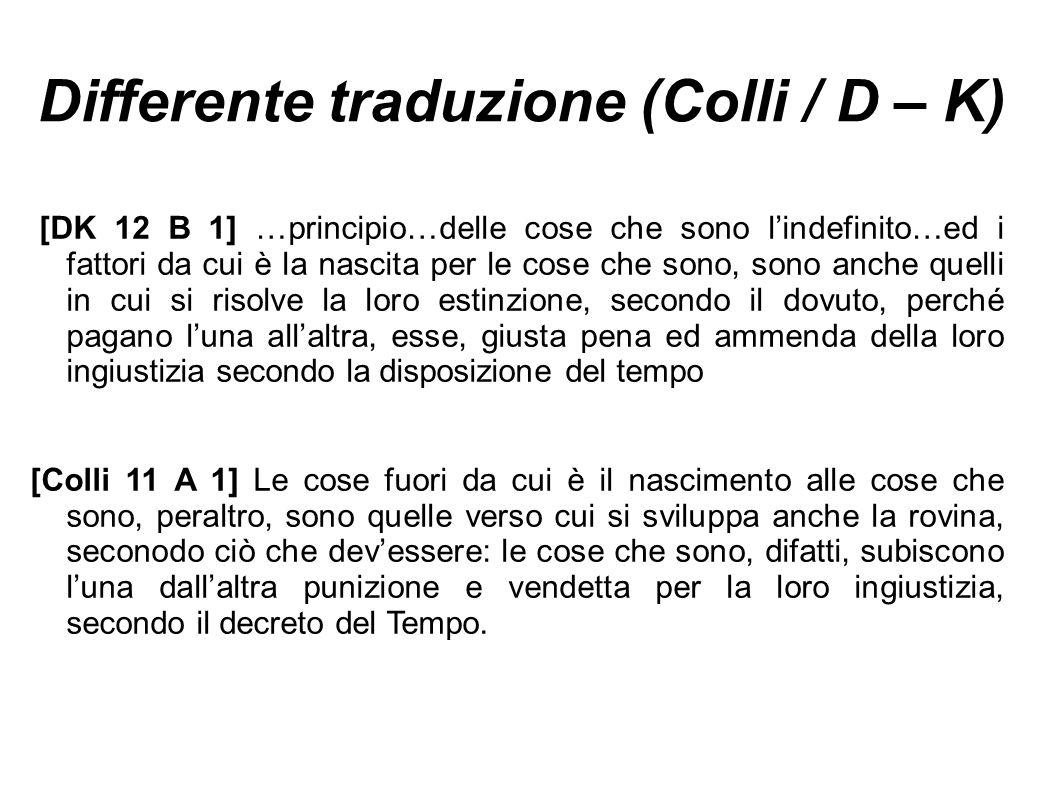 Differente traduzione (Colli / D – K)