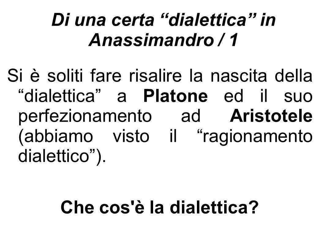 Di una certa dialettica in Anassimandro / 1