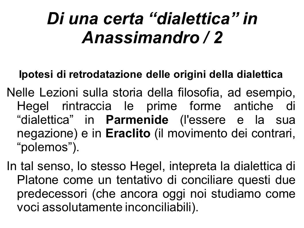 Di una certa dialettica in Anassimandro / 2