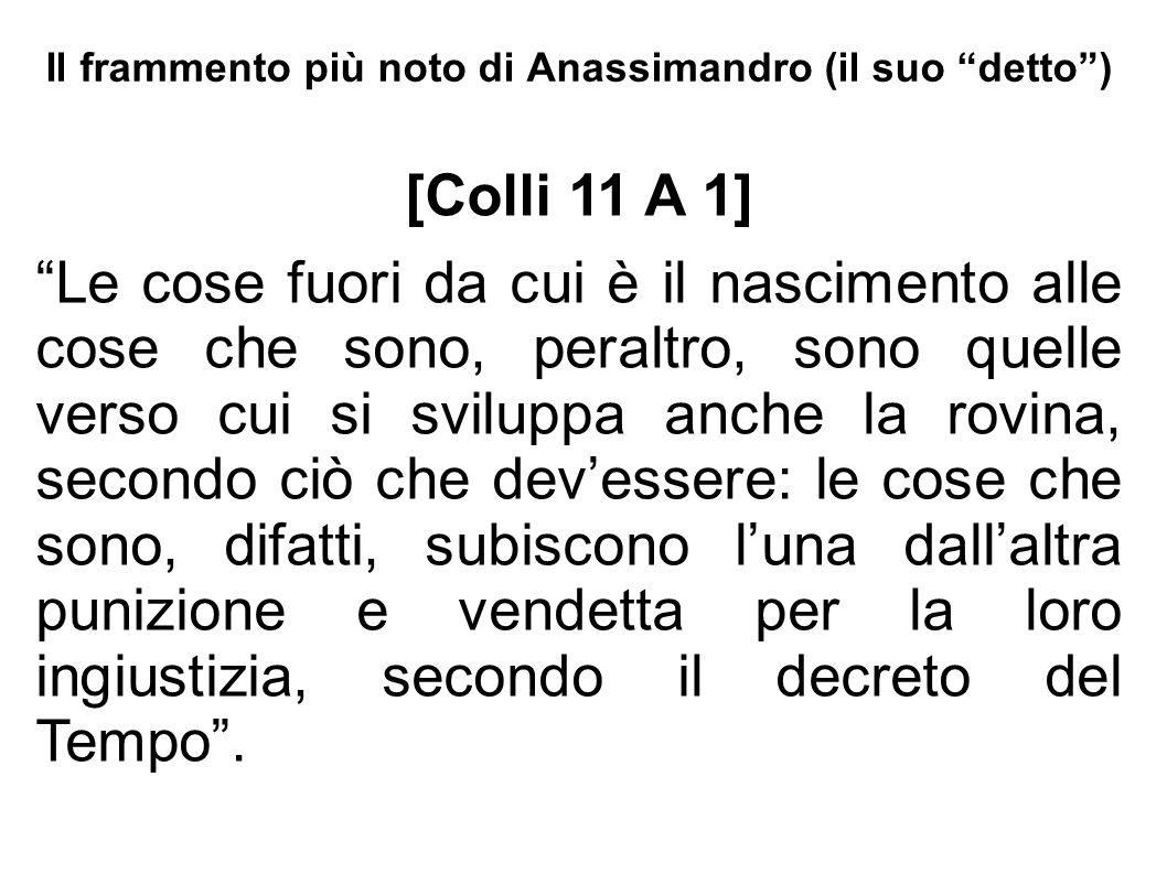 Il frammento più noto di Anassimandro (il suo detto )