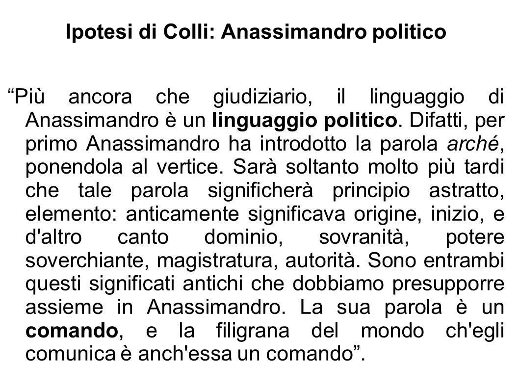 Ipotesi di Colli: Anassimandro politico