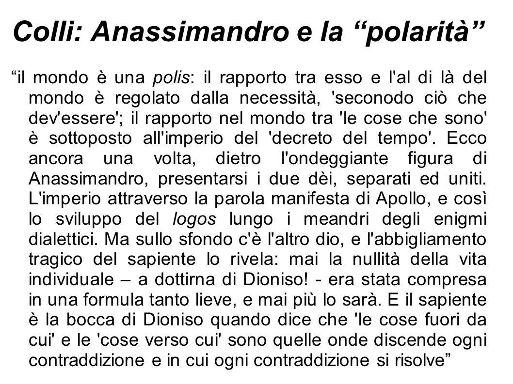 Colli: Anassimandro e la polarità