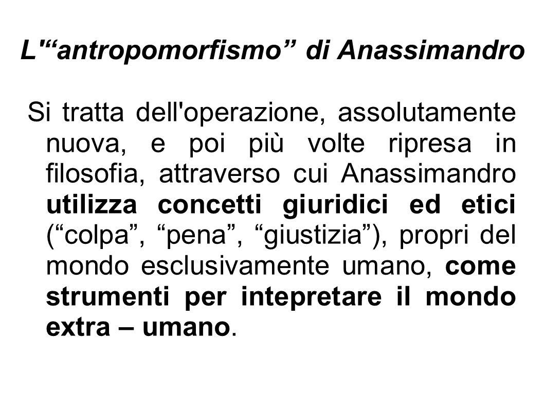L antropomorfismo di Anassimandro