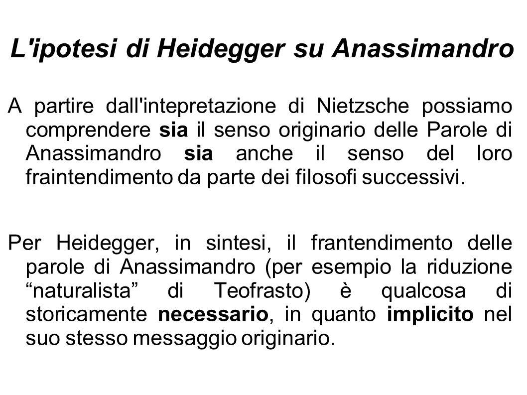 L ipotesi di Heidegger su Anassimandro