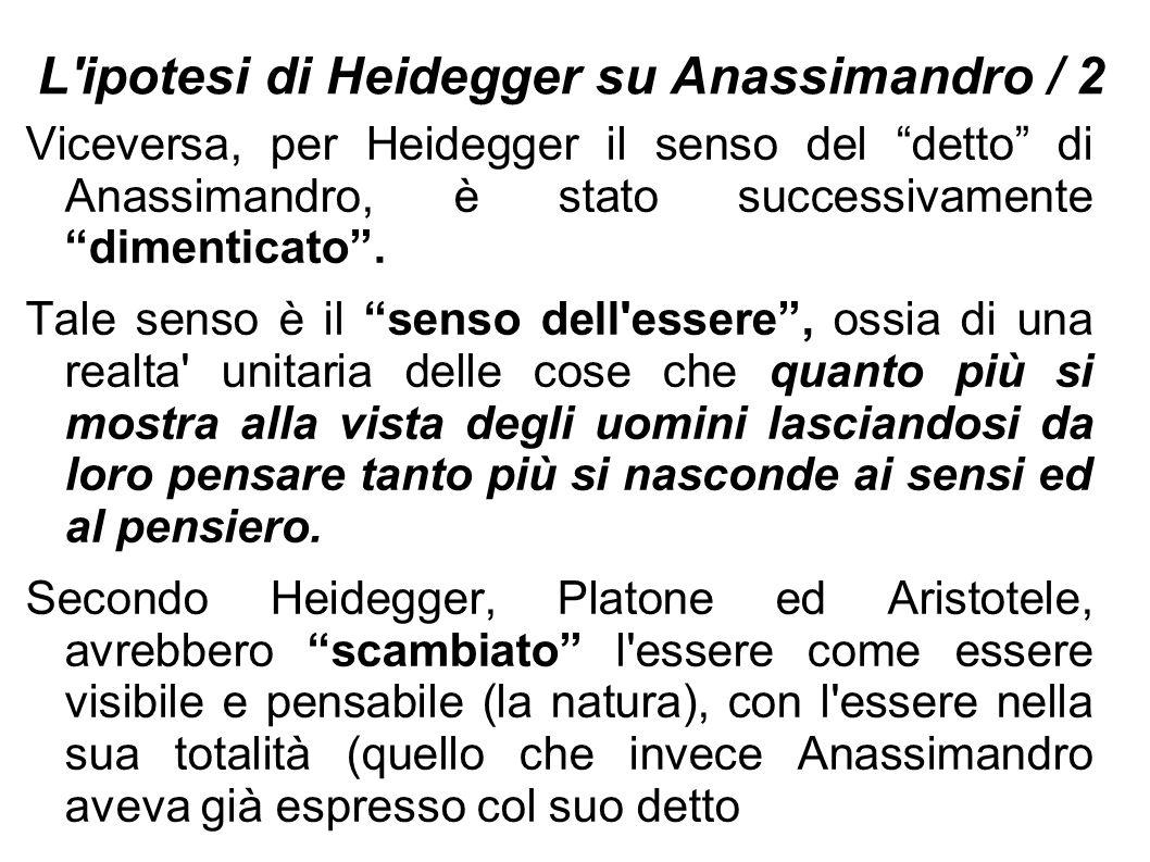 L ipotesi di Heidegger su Anassimandro / 2