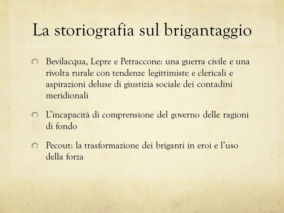 La storiografia sul brigantaggio