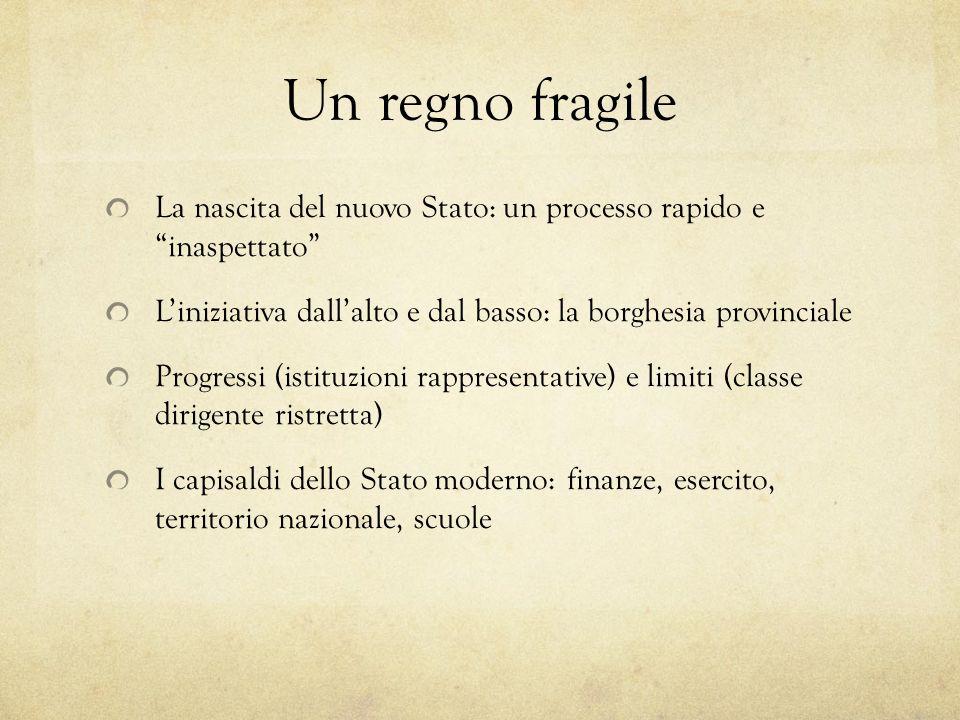 Un regno fragile La nascita del nuovo Stato: un processo rapido e inaspettato L'iniziativa dall'alto e dal basso: la borghesia provinciale.
