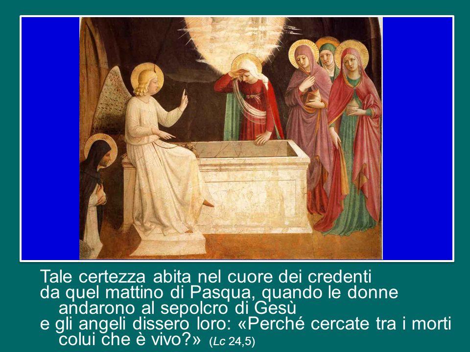 Tale certezza abita nel cuore dei credenti da quel mattino di Pasqua, quando le donne andarono al sepolcro di Gesù e gli angeli dissero loro: «Perché cercate tra i morti colui che è vivo » (Lc 24,5)