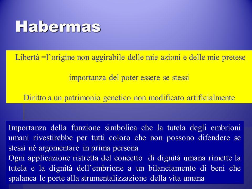 Habermas Libertà =l'origine non aggirabile delle mie azioni e delle mie pretese. importanza del poter essere se stessi.