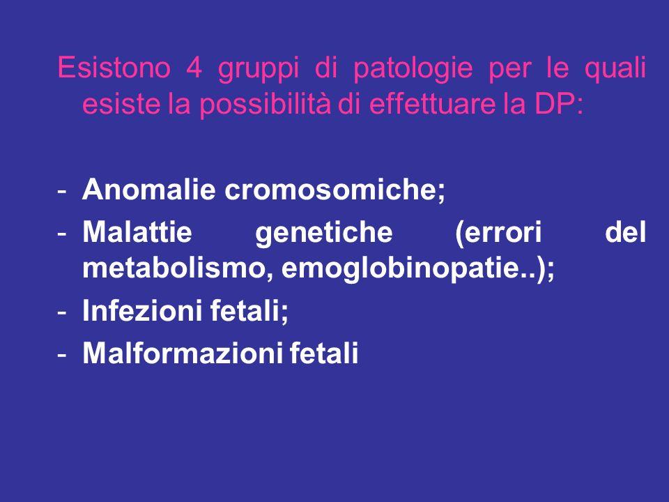 Esistono 4 gruppi di patologie per le quali esiste la possibilità di effettuare la DP: