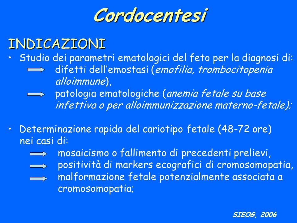 Cordocentesi INDICAZIONI