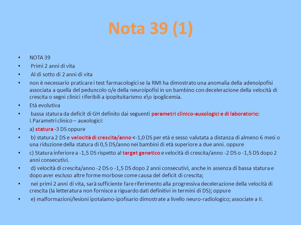 Nota 39 (1) NOTA 39 Primi 2 anni di vita Al di sotto di 2 anni di vita