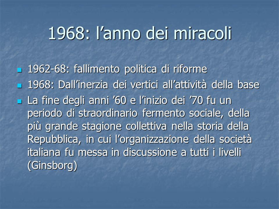 1968: l'anno dei miracoli 1962-68: fallimento politica di riforme