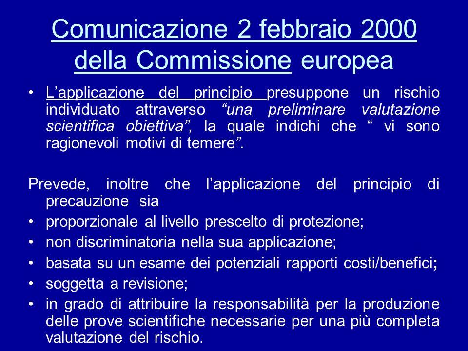 Comunicazione 2 febbraio 2000 della Commissione europea
