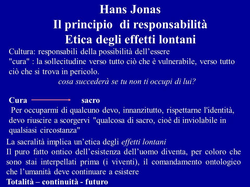 Il principio di responsabilità Etica degli effetti lontani