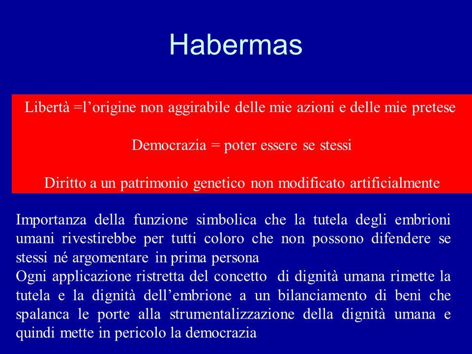 Habermas Libertà =l'origine non aggirabile delle mie azioni e delle mie pretese. Democrazia = poter essere se stessi.