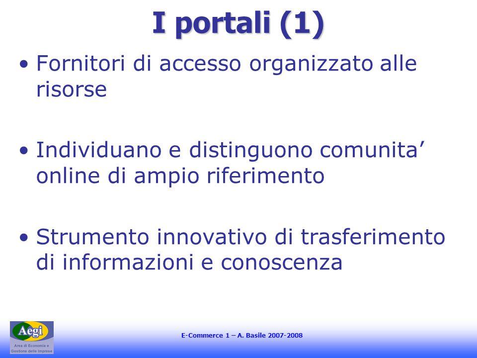 I portali (1) Fornitori di accesso organizzato alle risorse