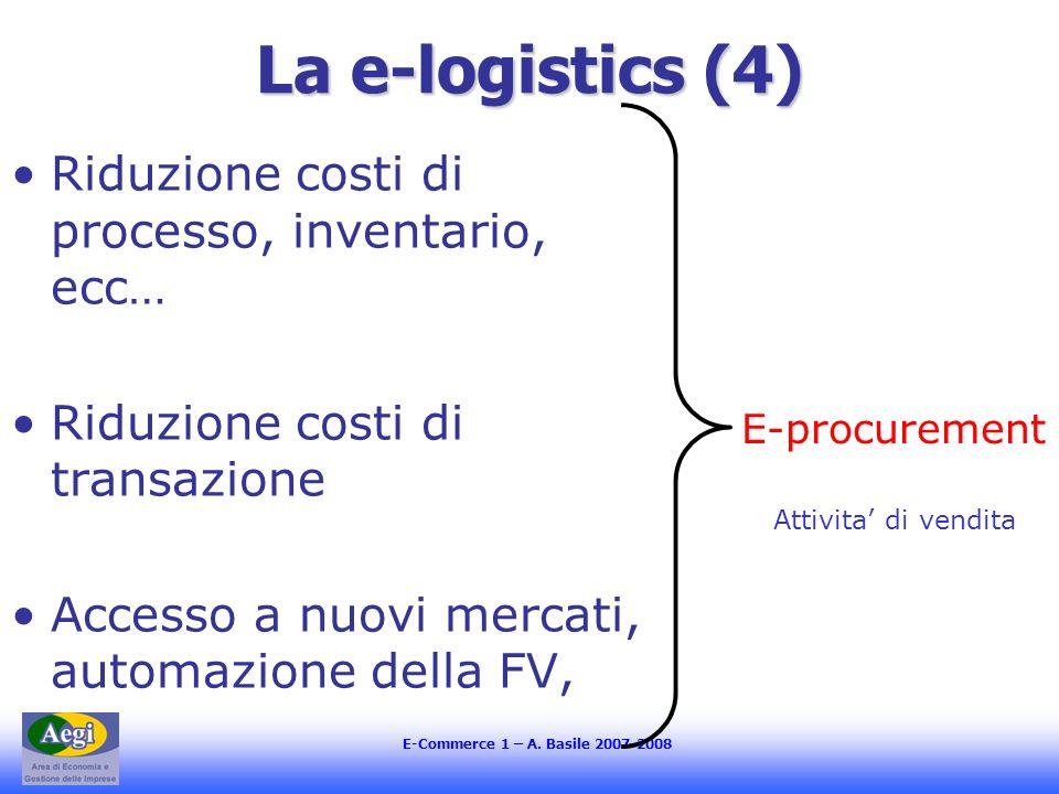 La e-logistics (4) Riduzione costi di processo, inventario, ecc…