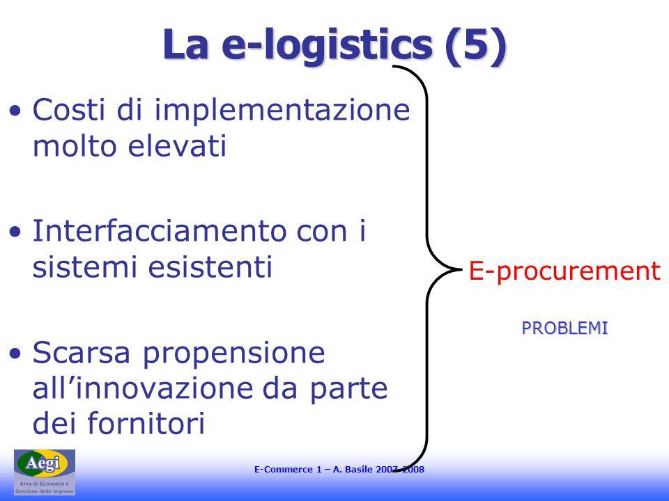 La e-logistics (5) Costi di implementazione molto elevati