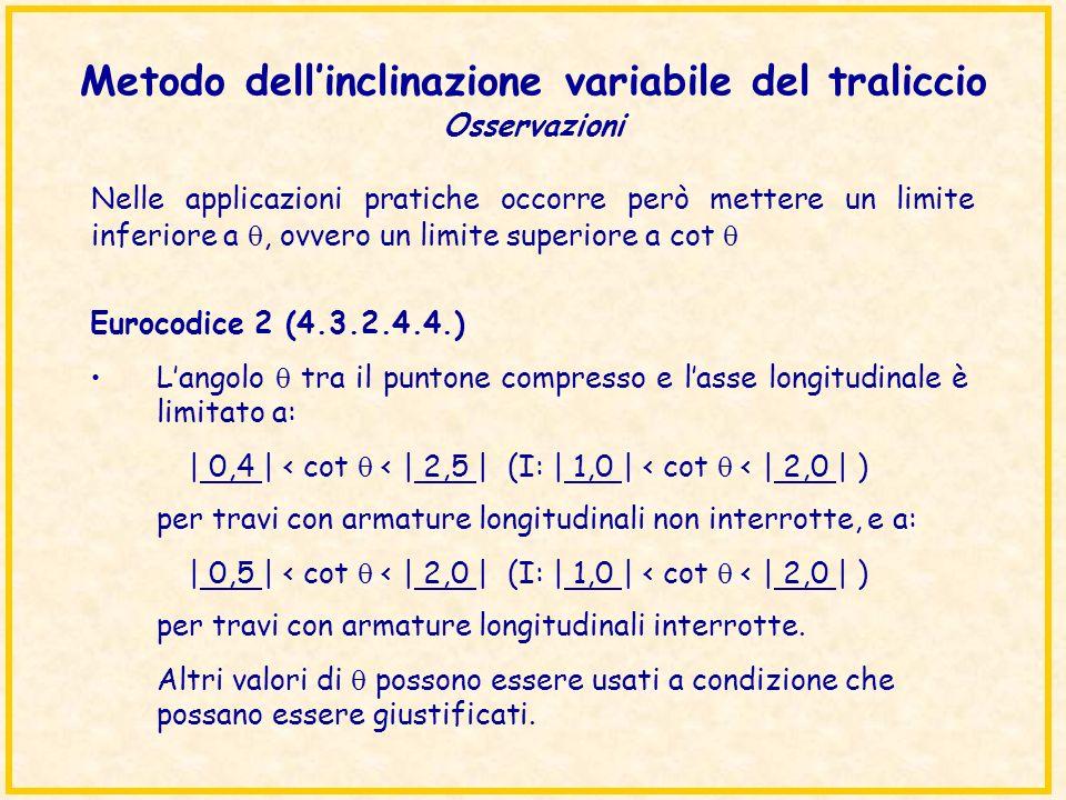 Metodo dell'inclinazione variabile del traliccio Osservazioni