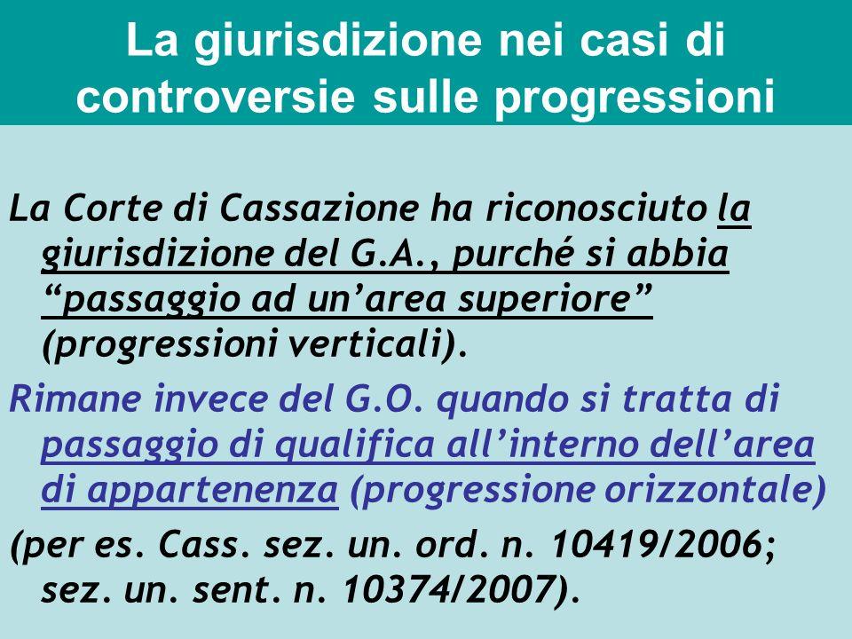 La giurisdizione nei casi di controversie sulle progressioni