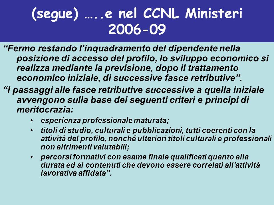 (segue) …..e nel CCNL Ministeri 2006-09