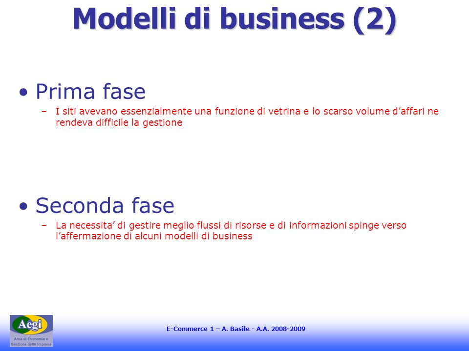 Modelli di business (2) Prima fase Seconda fase