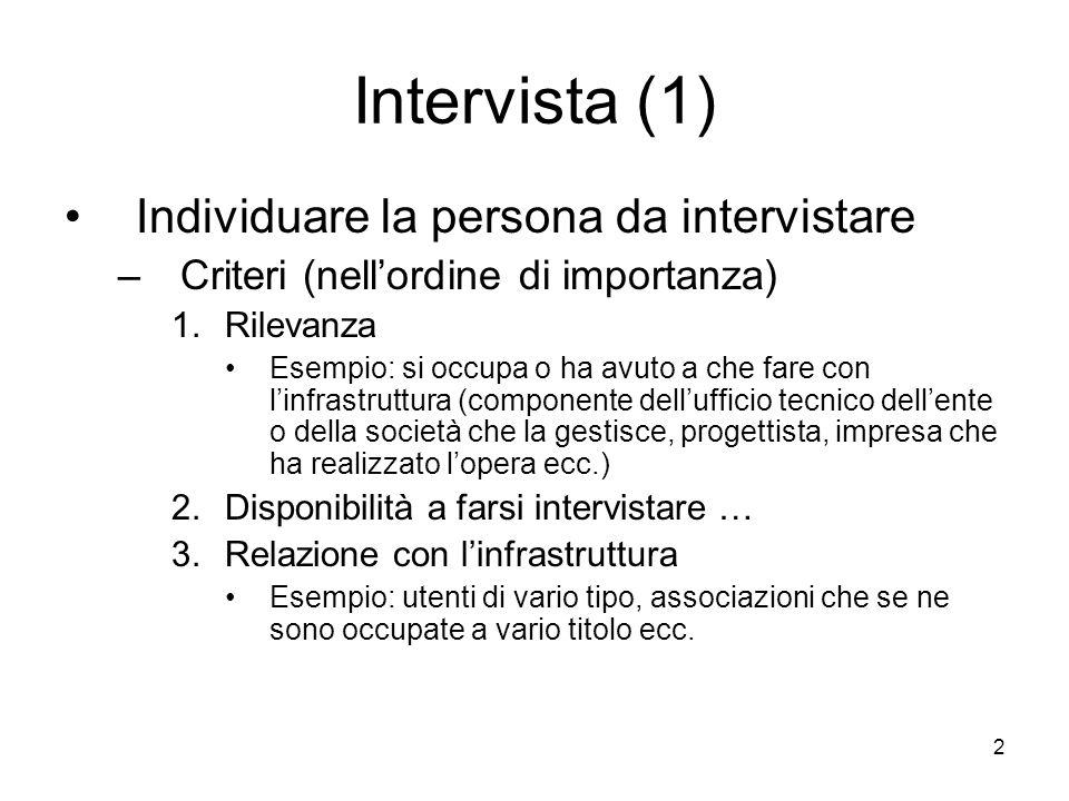 Intervista (1) Individuare la persona da intervistare