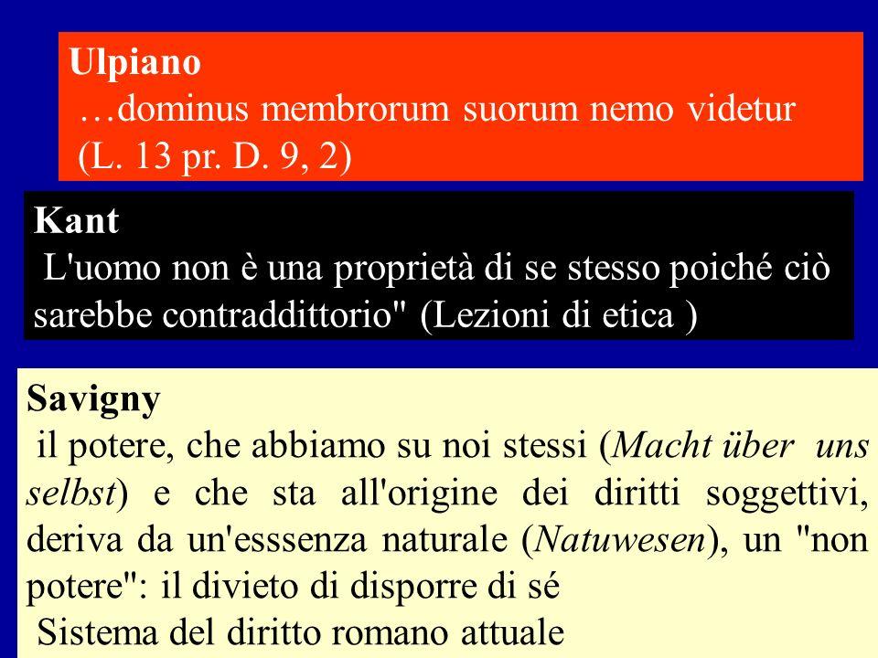 Ulpiano …dominus membrorum suorum nemo videtur. (L. 13 pr. D. 9, 2) Kant.