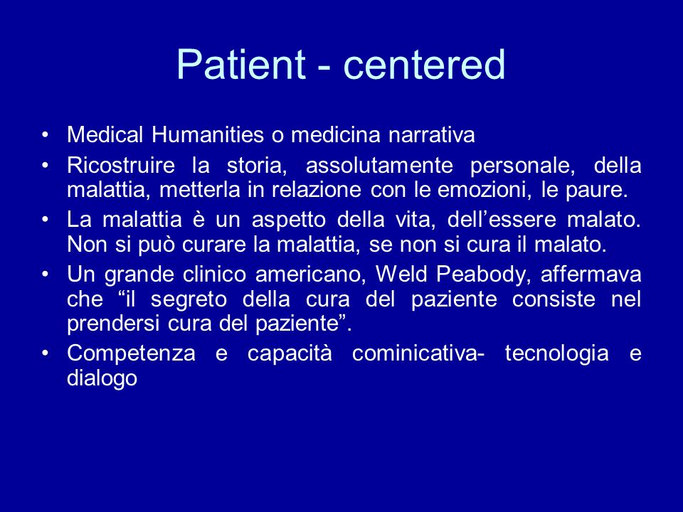 Patient - centered Medical Humanities o medicina narrativa