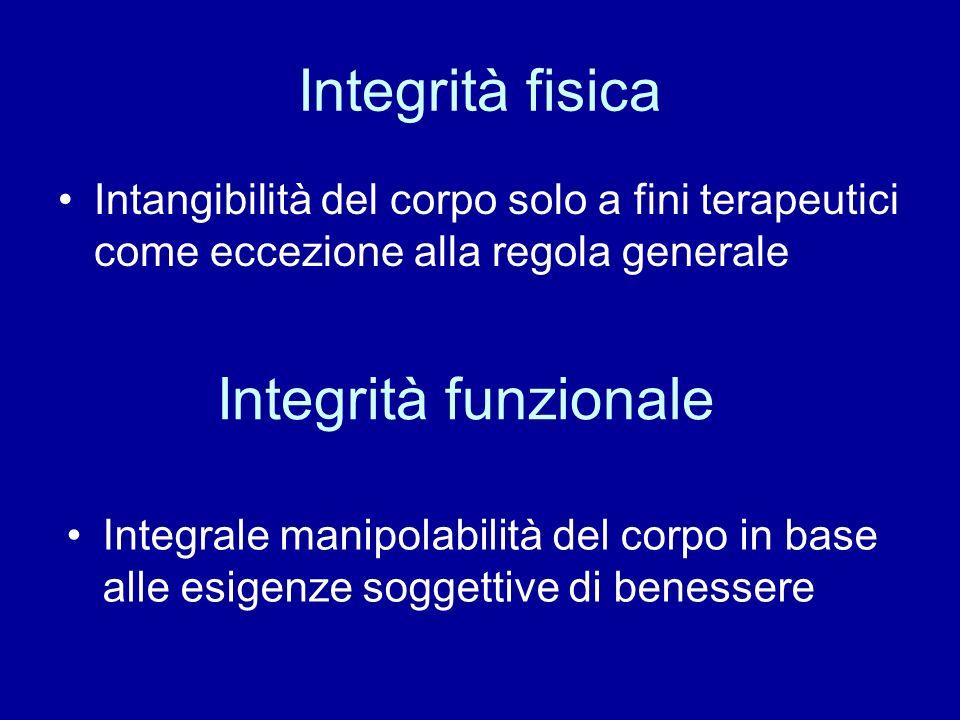 Integrità fisica Integrità funzionale