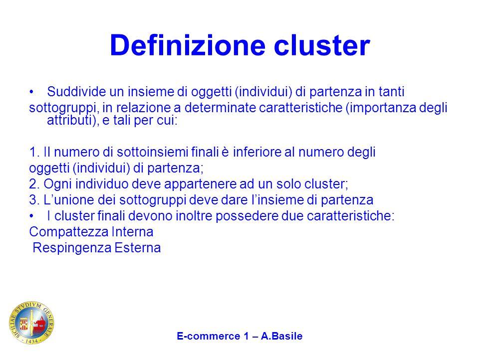 Definizione cluster Suddivide un insieme di oggetti (individui) di partenza in tanti.