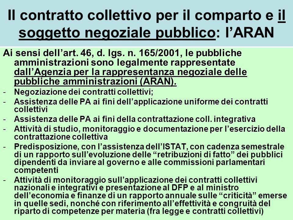 Il contratto collettivo per il comparto e il soggetto negoziale pubblico: l'ARAN