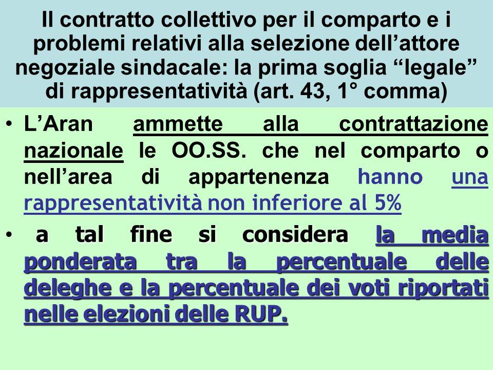 Il contratto collettivo per il comparto e i problemi relativi alla selezione dell'attore negoziale sindacale: la prima soglia legale di rappresentatività (art. 43, 1° comma)