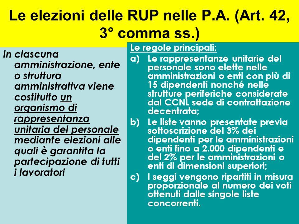 Le elezioni delle RUP nelle P.A. (Art. 42, 3° comma ss.)