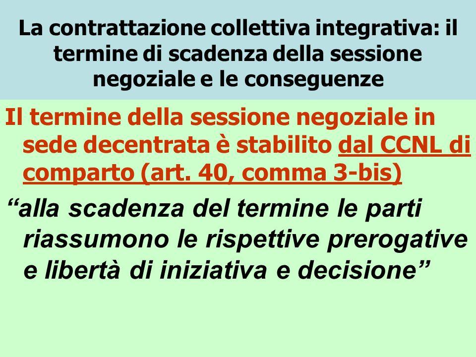 La contrattazione collettiva integrativa: il termine di scadenza della sessione negoziale e le conseguenze