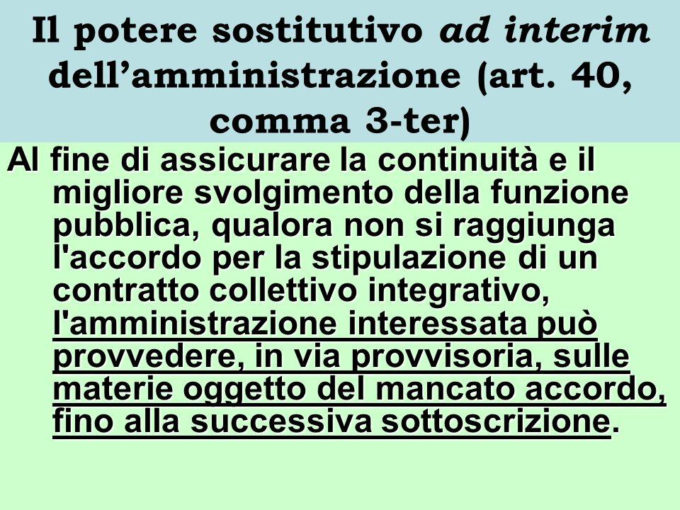 Il potere sostitutivo ad interim dell'amministrazione (art