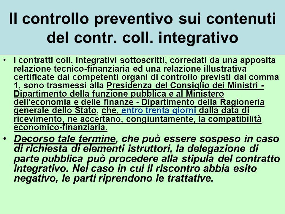 Il controllo preventivo sui contenuti del contr. coll. integrativo